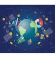 global economy with planet earth world money graph vector image vector image