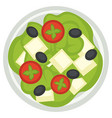 greek salad with feta leaves and tomatoes slices vector image vector image
