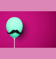 green balloon with mustache on pink background vector image vector image
