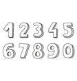 Hand drawn numbers isolated on white background vector image