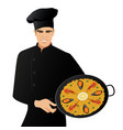 handsome spanish chef wearing a kitchen hat vector image vector image
