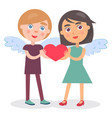 happy couple hold heart in hands boy girl wings vector image