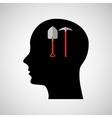 head silhouette black icon shovel and pick vector image vector image