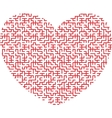 heart shaped maze vector image