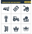 Icons set premium quality of agriculture and vector image