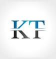 initial kt letter logo design abstract letter kt vector image vector image