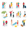 isometric travelers characters set vector image