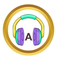 Language learning headphones icon vector image vector image