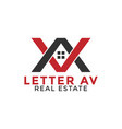 letter a v real estate logo icon design template vector image
