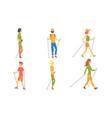 men and women practicing nordic walking set vector image