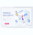 mobile security and privacy isometric landing page vector image vector image