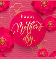 mothers day red flower in gold glitter pattern vector image vector image
