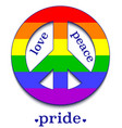 peace sign in colors lgbt community vector image