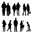 people silhouette walking and couple vector image vector image