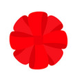 red ribbon christmas round gift bow icon vector image
