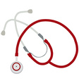 Red stethoscope vector image vector image