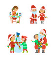 santa claus and helper children on winter holidays vector image vector image