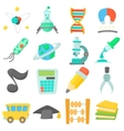 Science education icons set cartoon style vector image