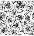 seamless black and white background with roses vector image vector image