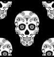 seamless pattern of white sugar skull vector image vector image