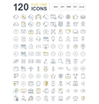 Set Flat Line Icons SEO and Web Design vector image
