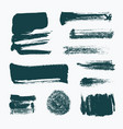 set hand drawn paint brush strokes and stains vector image