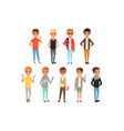 set of cute boys characters dressed in stylish vector image vector image
