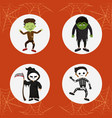 set of kids halloween costumes vector image