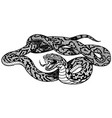 snake tattoo black and white vector image vector image