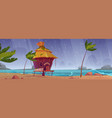 storm on beach with hut or bungalow under rain vector image vector image