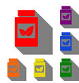 supplements container sign set of red orange vector image vector image