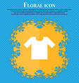 T-shirt icon sign Floral flat design on a blue vector image