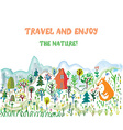 Travel funny card with landscape and animals vector image vector image
