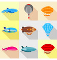 types of airship icons set flat style vector image vector image