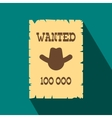 Vintage wanted poster flat icon vector image vector image