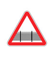 warning sign attention with barbed wire fence vector image