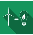 Wind turbine and bulb with leaves as idea of eco vector image