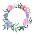 wreath with a blooming pink and blue hydrangea vector image