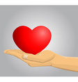 Hand holding a red heart vector image
