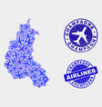 aeroplane mosaic champagne province map and vector image vector image