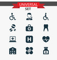 antibiotic icons set collection of rhythm drug vector image vector image