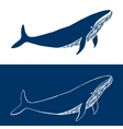 Big Whale Hand drawn fish logo Simple icon vector image