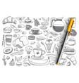 breakfast essentials and food doodle set vector image