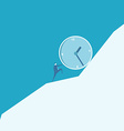 Business man pushing a huge clock up hill vector image vector image