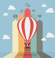 Businessman on hot air balloon with arrow bar vector image vector image