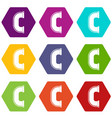 c joint pipe icon set color hexahedron vector image vector image