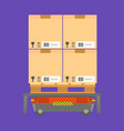 cardboard boxes loaded on special cart vector image