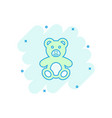 cartoon teddy bear plush toy icon in comic style vector image