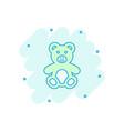 cartoon teddy bear plush toy icon in comic style vector image vector image