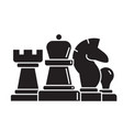 chess horse rook pawn queen black vector image